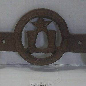 Cast Iron Cowboy Boots 2 Coat Hooks Wall Mounted